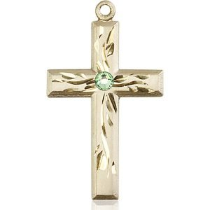 Cross Medal - August Birthstone - 14 KT Gold #88997