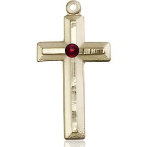 Cross Medal - January Birthstone - 14 KT Gold #89023