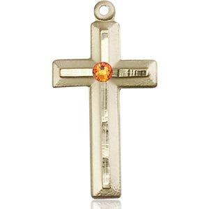 Cross Medal - November Birthstone - 14 KT Gold #89025