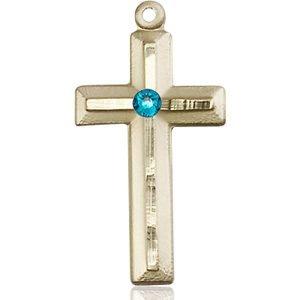 Cross Medal - December Birthstone - 14 KT Gold #89026