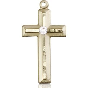Cross Medal - April Birthstone - 14 KT Gold #89029