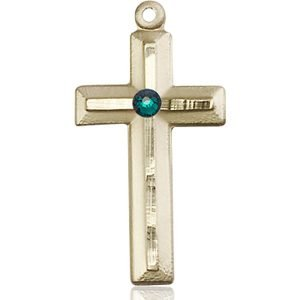 Cross Medal - May Birthstone - 14 KT Gold #89030