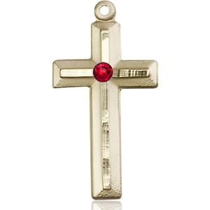 Cross Medal - July Birthstone - 14 KT Gold #89032