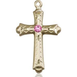 Cross Medal - October Birthstone - 14 KT Gold #89060
