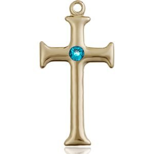 Cross Medal - December Birthstone - 14 KT Gold #89098