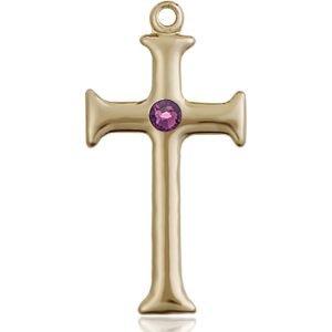 Cross Medal - February Birthstone - 14 KT Gold #89099