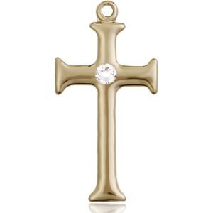 Cross Medal - April Birthstone - 14 KT Gold #89101