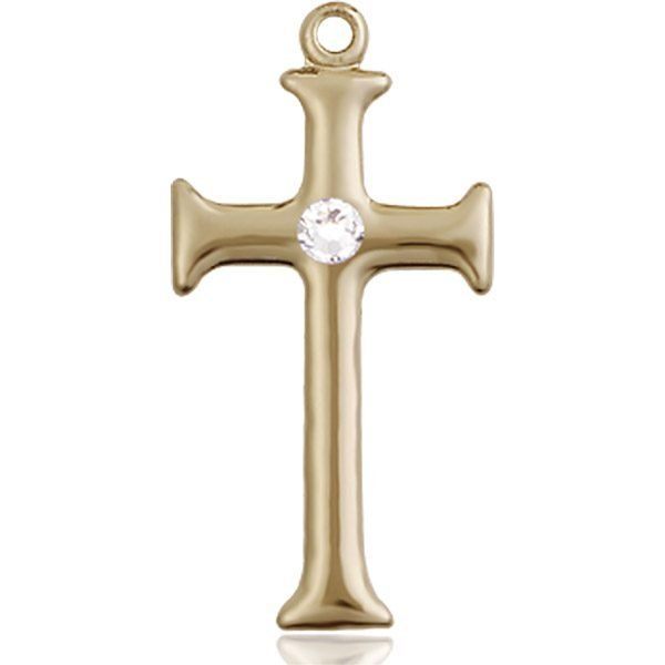 Cross Medal - April Birthstone - 14 KT Gold #89101