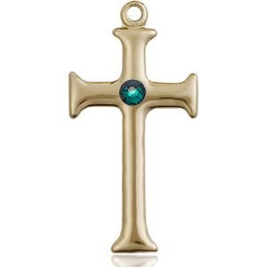 Cross Medal - May Birthstone - 14 KT Gold #89102