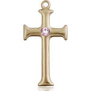 Cross Medal - June Birthstone - 14 KT Gold #89103