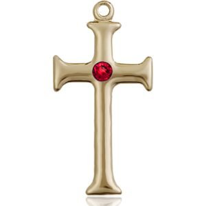 Cross Medal - July Birthstone - 14 KT Gold #89104