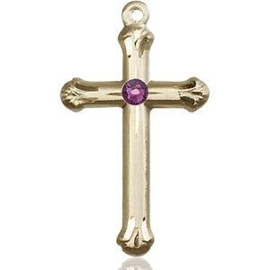 Cross Medal - February Birthstone - 14 KT Gold #89135