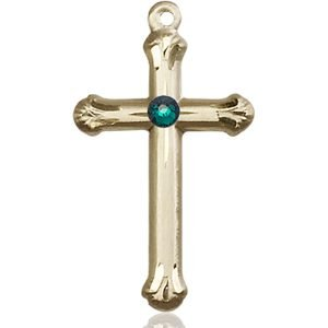 Cross Medal - May Birthstone - 14 KT Gold #89138