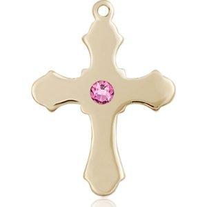 Cross Medal - October Birthstone - 14 KT Gold #89228