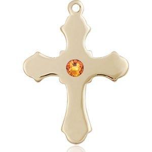 Cross Medal - November Birthstone - 14 KT Gold #89229