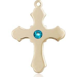 Cross Medal - December Birthstone - 14 KT Gold #89230