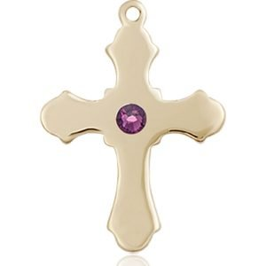 Cross Medal - February Birthstone - 14 KT Gold #89231