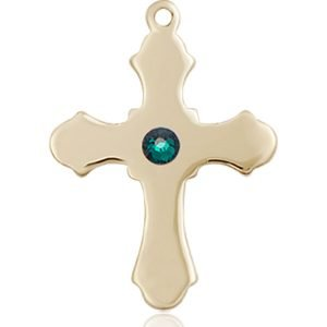 Cross Medal - May Birthstone - 14 KT Gold #89234