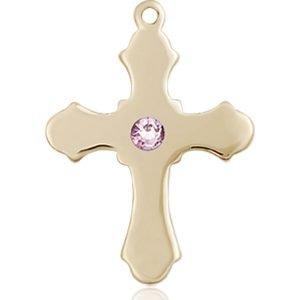 Cross Medal - June Birthstone - 14 KT Gold #89235