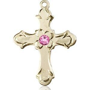 Cross Medal - October Birthstone - 14 KT Gold #89240