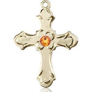 Cross Medal - November Birthstone - 14 KT Gold #89241