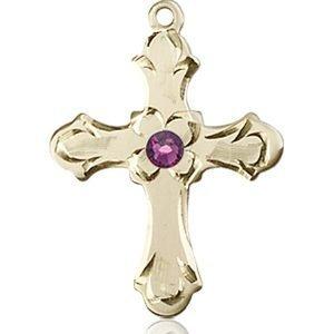 Cross Medal - February Birthstone - 14 KT Gold #89243