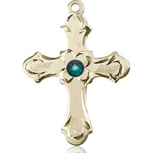 Cross Medal - May Birthstone - 14 KT Gold #89246