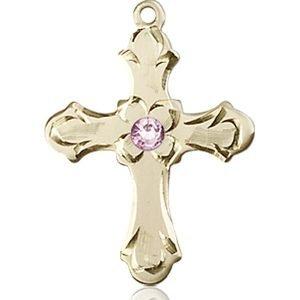Cross Medal - June Birthstone - 14 KT Gold #89247