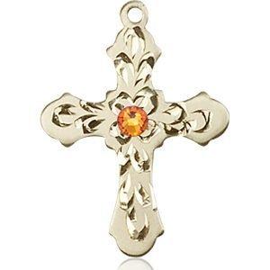Cross Medal - November Birthstone - 14 KT Gold #89253