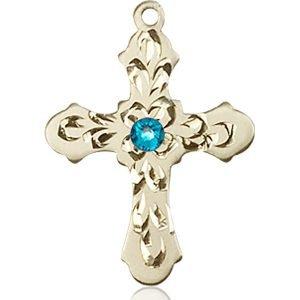 Cross Medal - December Birthstone - 14 KT Gold #89254