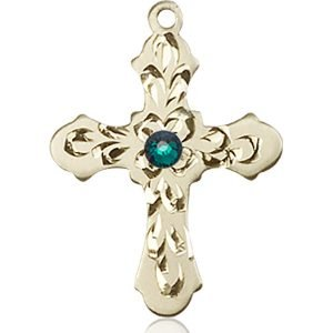 Cross Medal - May Birthstone - 14 KT Gold #89258