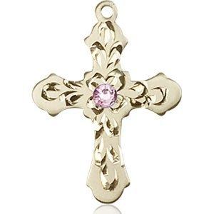 Cross Medal - June Birthstone - 14 KT Gold #89259