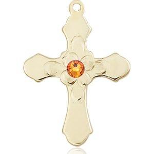 Cross Medal - November Birthstone - 14 KT Gold #89265