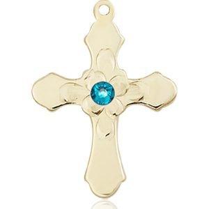 Cross Medal - December Birthstone - 14 KT Gold #89266