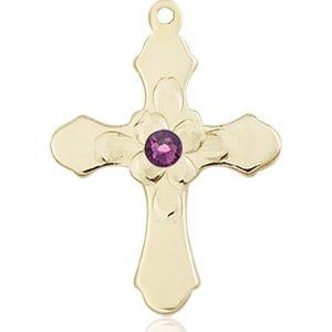 Cross Medal - February Birthstone - 14 KT Gold #89267
