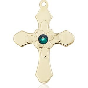 Cross Medal - May Birthstone - 14 KT Gold #89270