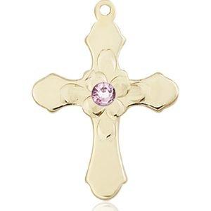 Cross Medal - June Birthstone - 14 KT Gold #89271