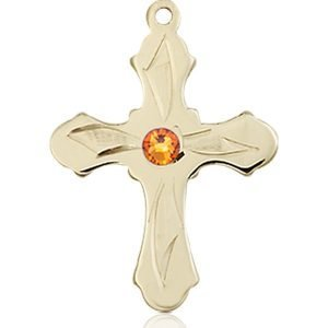 Cross Medal - November Birthstone - 14 KT Gold #89277