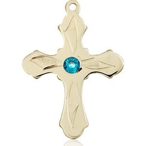 Cross Medal - December Birthstone - 14 KT Gold #89278