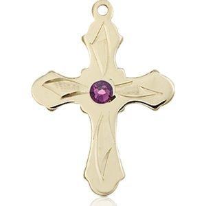 Cross Medal - February Birthstone - 14 KT Gold #89279