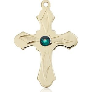 Cross Medal - May Birthstone - 14 KT Gold #89282