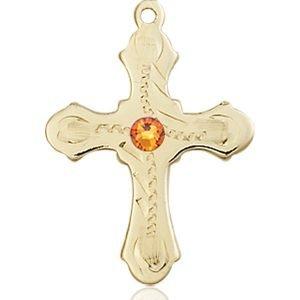 Cross Medal - November Birthstone - 14 KT Gold #89289