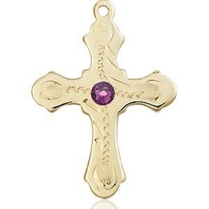 Cross Medal - February Birthstone - 14 KT Gold #89291