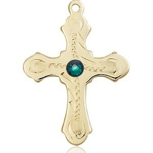 Cross Medal - May Birthstone - 14 KT Gold #89294