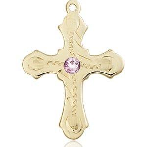Cross Medal - June Birthstone - 14 KT Gold #89295