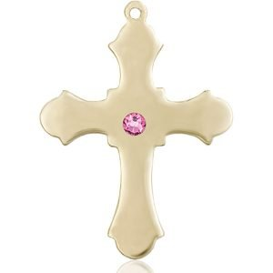 Cross Medal - October Birthstone - 14 KT Gold #89408