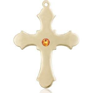 Cross Medal - November Birthstone - 14 KT Gold #89409