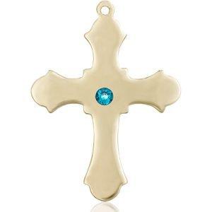Cross Medal - December Birthstone - 14 KT Gold #89410