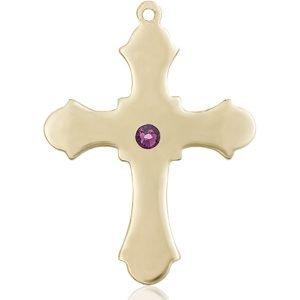 Cross Medal - February Birthstone - 14 KT Gold #89411