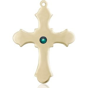 Cross Medal - May Birthstone - 14 KT Gold #89414